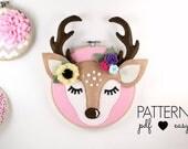Deer Antler Nursery Art Pattern - Woodland Nursery Decor - Deer Head Felt Sewing Pattern - Boho Deer - Sleepy Eyes - Felt Pattern - Hoop Art