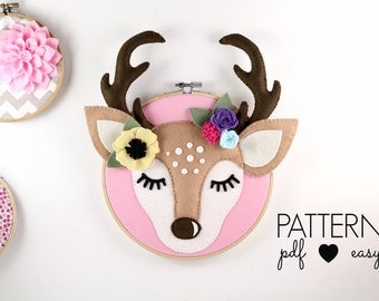 Faux Taxidermy Deer Antler Nursery Art Pattern Woodland Nursery Deer Sewing Pattern, Boho Nursery, Sleepy Eyes, Felt Pattern, Hoop Art