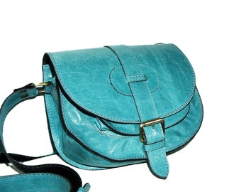 Leather Saddle Bag Leather Messenger Leather Cross-body Bag Leather Purse Ipad bag Leather Messenger Bag iphone case, Goldmann S, Turquoise