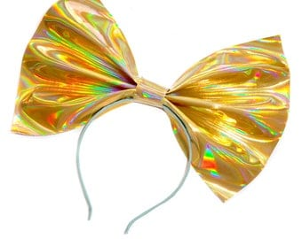Giant Holographic Headbow ~ Gold