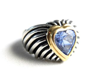 Vintage 18K White Gold Plated Blue Topaz Heart Cocktail Ring - Wide Engraved Band - Faceted Cubic Zircon - December Birthstone - Size 8