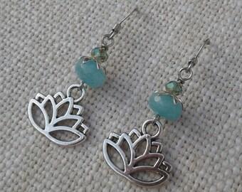 Aqua Jade Lotus Earrings