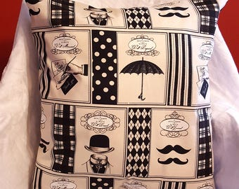Gentleman Moustache Pillow Cover with Insert Large 20 x 20 inches Black Ecru