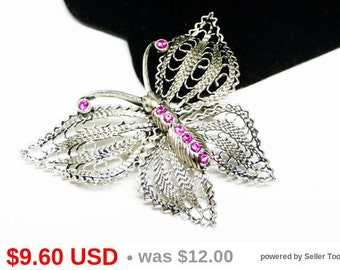 Silvertone Filigree Butterfly Brooch with Pink Rhinestones - Flying Insect Pin
