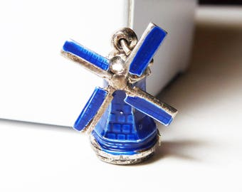 Sterling Silver & Blue Enamel Windmill Charm - Sterling Silver - Unsigned - Charm for Bracelet or wear as a Pendant - Vintage 1950's