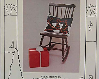 RARE Vintage 80's Winter Dream Christmas Tree Holiday Pillow Pattern by Lake Cottage Applique UC