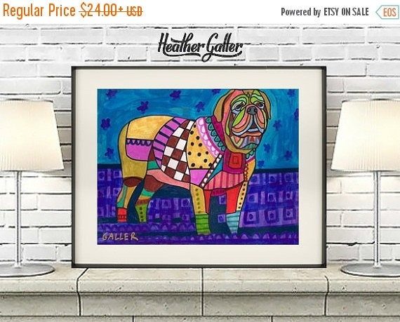 50% Off Today- Dogue de Bordeaux art dog  Art Print Poster by Heather Galler (HG392)