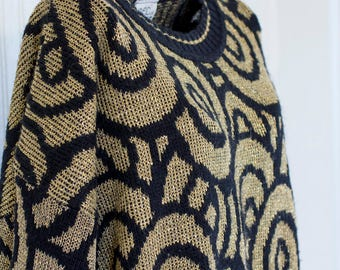 Vintage 80's Sweater, Black Gold Funky Swirl Pattern, Made USA New York, Metallic 1980's Fashion, Large Womens Ladies