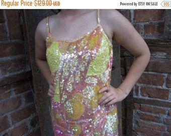On Sale 1980s 90s Silk Sequin Dress/ Trophy Dress / Abstract Dress Flashy  Bodycon Dress 603