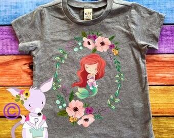 Mermaid Shirt Floral Wreath Mermaid Tshirt Birthday Shirt Mermaid Birthday Shirt Mermaid Big Sister Shirt Mermaid Girls Shirt Birthday Party