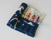 Crayon Caddy Roll Up - Unicorns and Rainbows (8 Crayons Included) - Ready to Ship!
