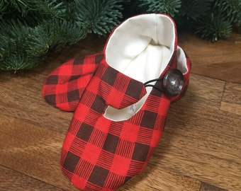 Red Plaid Woodland Baby Shoes - Hipster Baby Shoes, Baby Booties, Gender Neutral - Lumberjack Baby