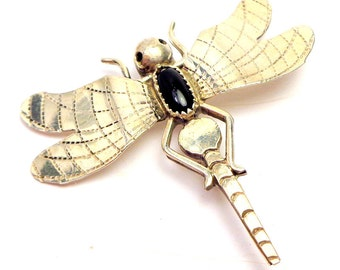 Sterling Silver, Dragonfly Brooch,Steampunk Brooch, Onyx, Steampunk Art Insect Brooch