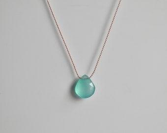 Silk Jewelery Minimalist Necklace Aqua Blue Chalcedony Faceted Minimal Floating Wedding Simple Aqua Heart Briolette Gemstone Silk Necklace