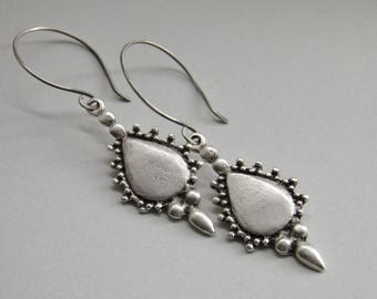 Sterling Silver Earrings Greek, Oxidized, Silver Cast, Balinese, Fine Silver Teardrop Handcrafted Earwires, Oxidised Dangle Drop Earrings