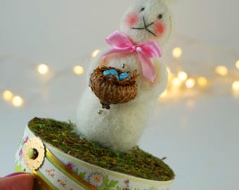 Sweet, Soft Easter Bunny Holds a Bird's Nest