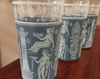 3 Corinthian-Blue Tumblers by Jeannette, 10 oz / Mid - Century Glassware / 1950s Barware Drinkware / Hollywood Regency