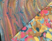 Life on Mars - Hand-Marbled Paper - Set of 2 Duo Ebru Multicolored Papers Red Gray Gold