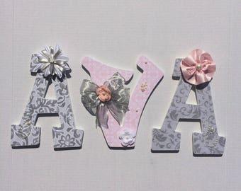 Custom Nursery Wall Letters - AVA examples