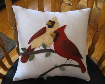 Wool Applique Pillow Male and Female Cardinals Handstitched