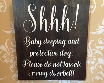 Newborn, nursery decor, wood sign, Shhh...baby sleeping, stained, newborn, soliciting sign, baby sleeping