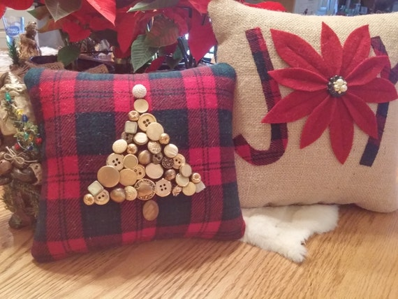 Set of 2 small Christmas decorative burlap front pillows