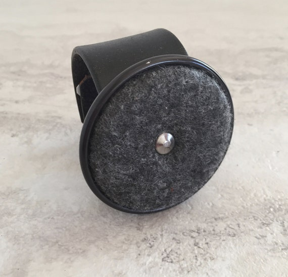 Women's Handmade Black Leather Cuff with Large Industrial Charm (size 6.5 inches)
