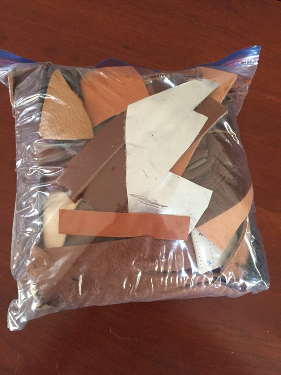 2.15 pounds of Scrap Leather, Leather Pieces, Leather Scrap