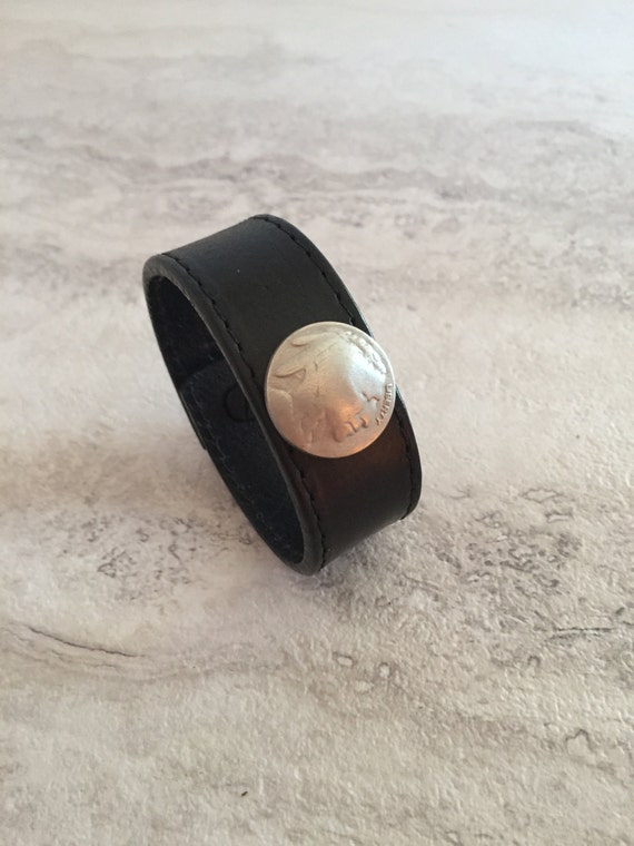 Women's Black Leather Bracelet with Buffalo Nickel Coin (Size 6.25 inches)