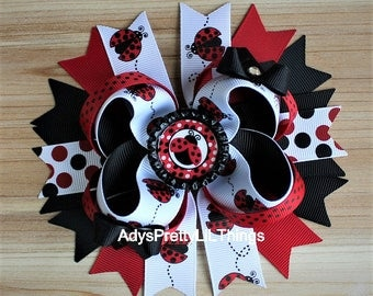Ladybug Bow Ladybug Bow Bottle Cap Bow Red Polka Dot Bow Summer Bows Bug Bow Girls Boutique Bow Layered Bow Baby Girls Hair Accessories