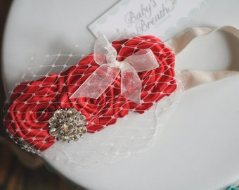 Red Vintage Beauty - Red Satin Rosettes Headband with Gold Embellishment -Peek-a-boo Birdcage Veiling