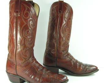 ostrich cowboy boots mens 9 D brown dan post ostrich leg skin leather western