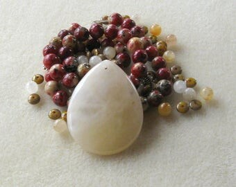 Jade Pendant and Beads, Czech Glass, DIY Jewelry Kit, Necklace Kit, Gemstone Beads, Jewelry Design, Jewelry Making Beads