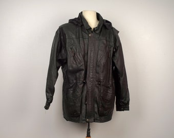 long black leather jacket with hood men XL heavy leather coat Mexico 80s 90s Vintage 48 50