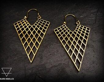 Boucles d'oreille laiton #  tribal brass hoop earrings # geometric earrings
