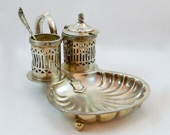 Vintage Ornate Condiment Serving Piece with Embossed Stevens Family Crest - Silverplated
