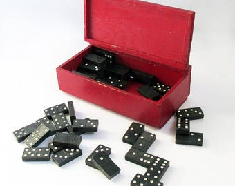 Vintage Domino Set in Red Wooden Box