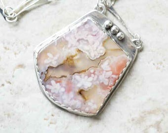 Pink Floral Plume Agate in Sterling Silver
