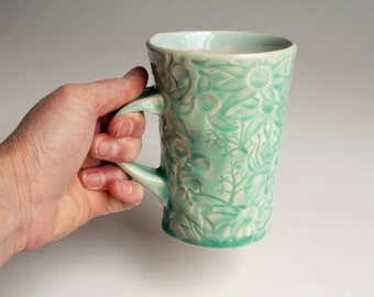 Handmade Teal Mug with Australian Flannel Flower Design