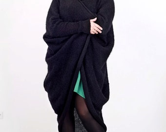 Mohair knitted black  mysterious cardigan free plus size comfortable Regina Doseth