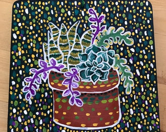 Succulent art hand painted on wood
