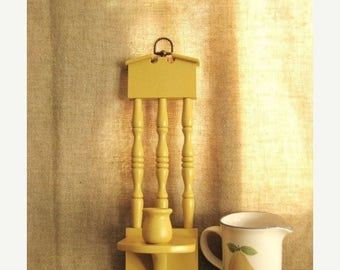 10/20 SALE Retro Candle Sconce in Honey Mustard /  Yellow Wood Wall Sconce