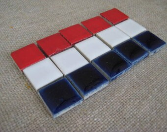 "Patriotic Ceramic Tiles for Stepping Stone or Mosaic DeStash Craft Supply / 1/2"" Red, White & Blue Ceramic Tile"