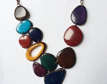 Tagua nut jewelry. Maroon blue green necklace. Cranberry purple brown Necklace. Turquoise. Sela Designs. Jewel tones. Ready to Ship jewelry