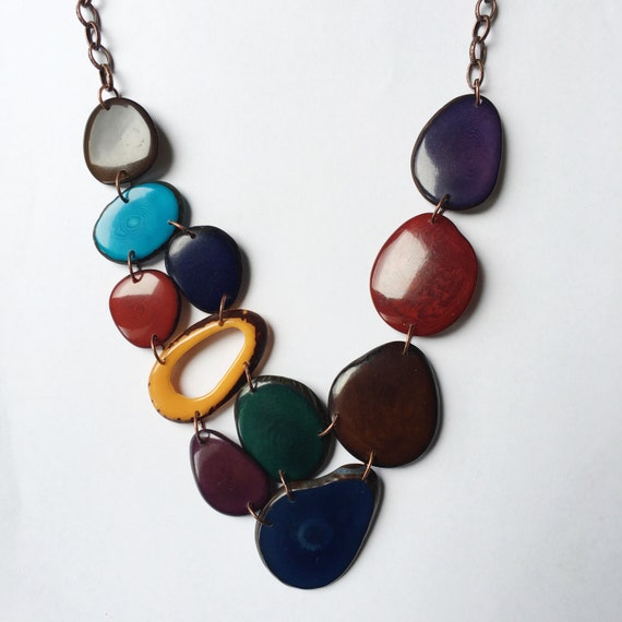 Tagua nut jewelry. Maroon blue green necklace. Cranberry purple brown Necklace. Turquoise. Mixed colors Necklace. Sela Designs. Jewel tones