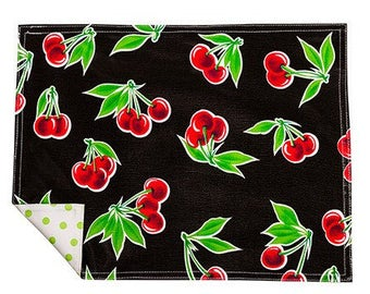 Cherry Black Reversible Oilcloth  Placemats Set of 4