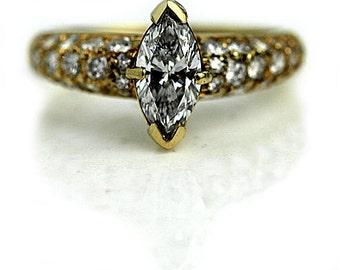 Marquis Engagement Ring 1.26ctw GIA Marquis Cut Engagement Ring Vintage Marquis Diamond Ring 18K Yellow Gold Diamond Ring 1980's Size 6!