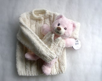 Baby Girl sweater Baby cardigan 9-12 months with little teddy bear Girls clothing Gift for girl Handmade Baby Knit Infants Baby clothing