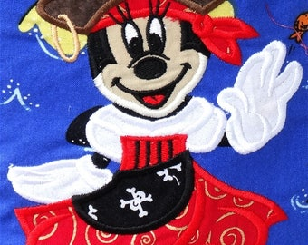 Ready to Ship RTS Boutique Custom Cruise Pirate Minnie Mouse embroidery Applique Patch DIY 5x7