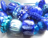 Crystal Seas - Handmade Lampwork Bead Set (20) by Anne Schelling, SRA